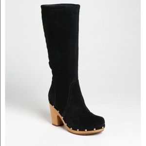 """Ugg """"Rumer"""" suede boots with wood clog like heel 9"""